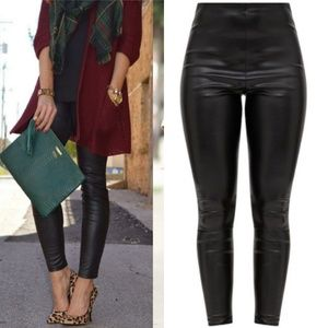 Pants - High Waisted Faux Leather Leggings